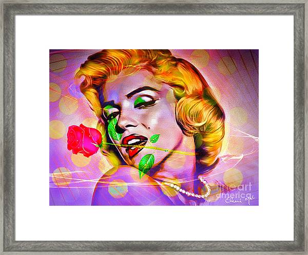Framed Print featuring the digital art Marilyn Monroe by Eleni Mac Synodinos