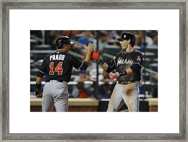 Miami Marlins V New York Mets Framed Print by Rich Schultz