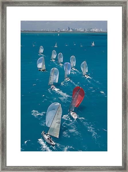 Miami Skyline Regatta Framed Print