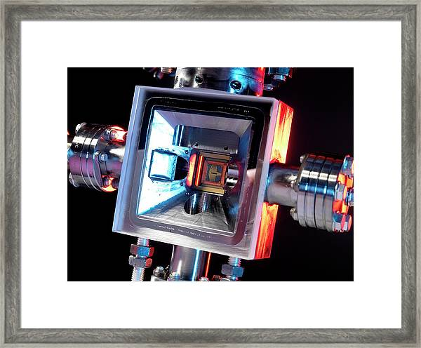 Microfabricated Ion Trap Framed Print by Andrew Brookes, National Physical Laboratory/science Photo Library