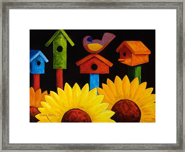 Framed Print featuring the painting Midnight Garden by Oscar Ortiz