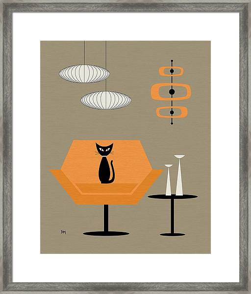 Mod Chair In Orange Framed Print
