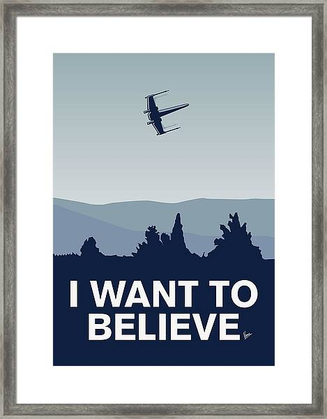 My I Want To Believe Minimal Poster-xwing Framed Print