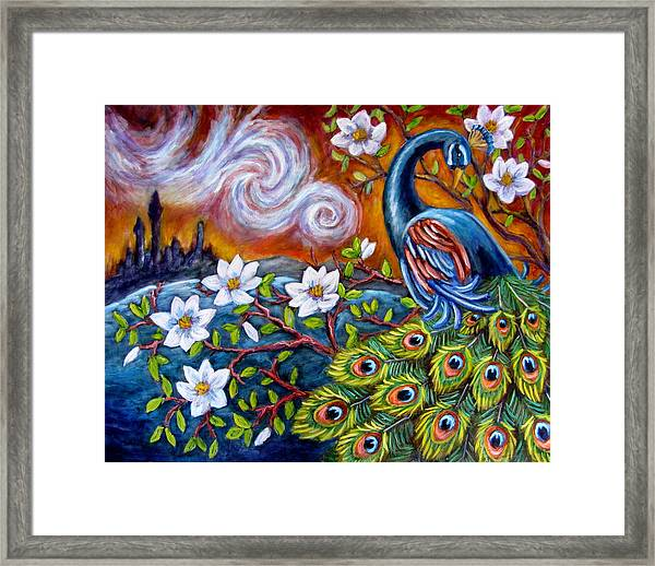 Mystic Peacock Framed Print