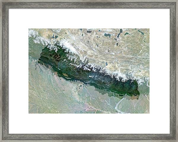 Nepal Framed Print by Planetobserver/science Photo Library