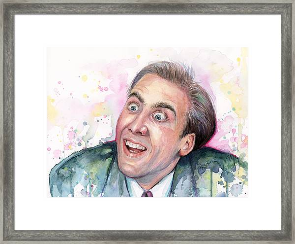 Nicolas Cage You Don't Say Watercolor Portrait Framed Print