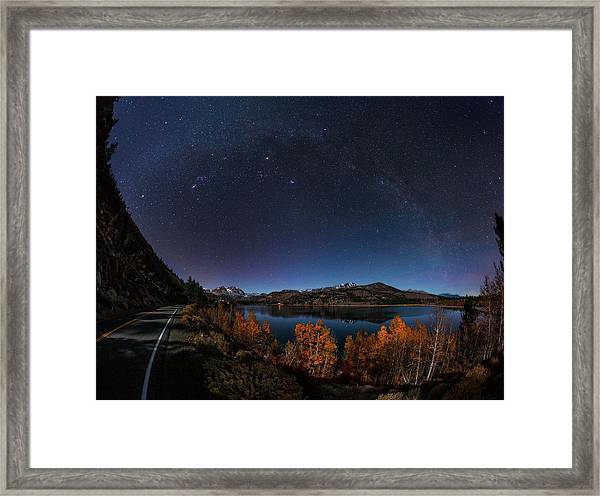 Night Sky Over June Lake Framed Print