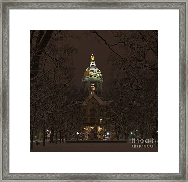 Notre Dame Golden Dome Snow Framed Print
