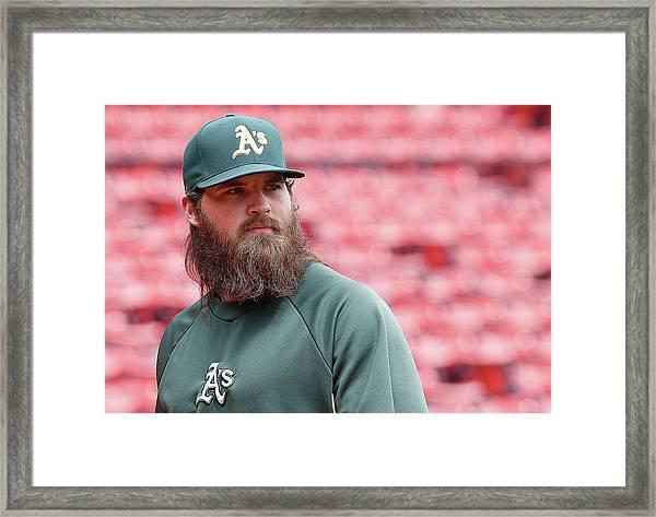 Oakland Athletics V Boston Red Sox Framed Print by Jim Rogash