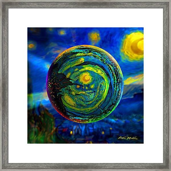 Orbiting A Starry Night  Framed Print