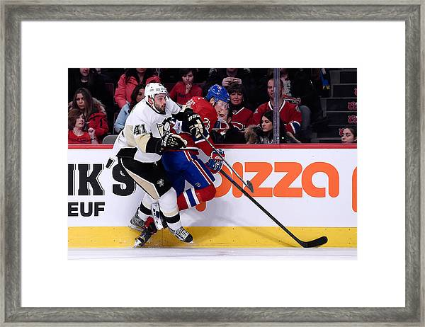 Pittsburgh Penguins V Montreal Canadiens Framed Print by Richard Wolowicz
