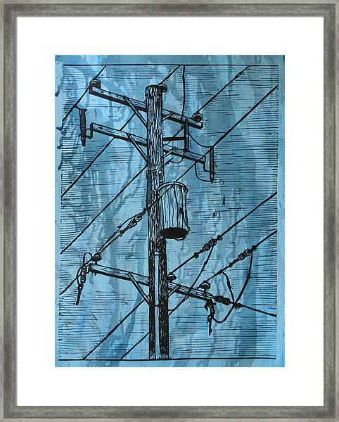 Pole With Transformer Framed Print