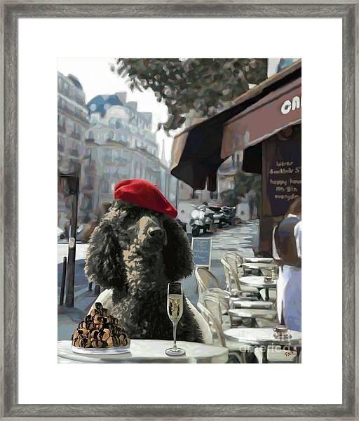 Poodle In Paris Framed Print