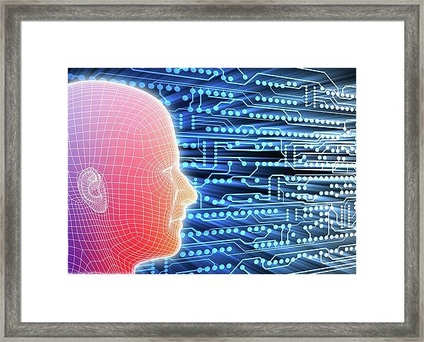 Printed Circuit Board And Wireframe Head Framed Print