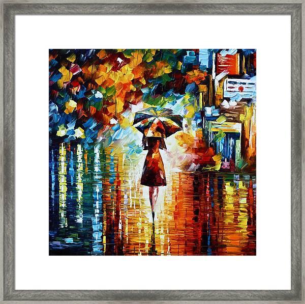 Rain Princess - Palette Knife Landscape Oil Painting On Canvas By Leonid Afremov Framed Print