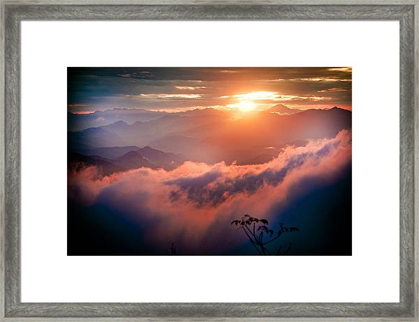 Framed Print featuring the photograph Red Sunset Himalayas Mountain Nepal by Raimond Klavins