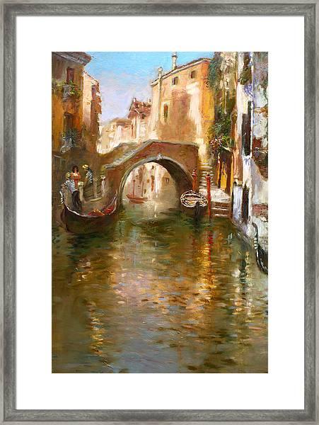 Romance In Venice  Framed Print
