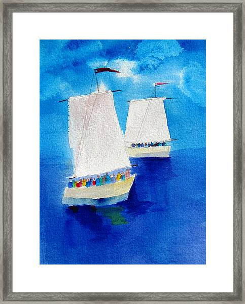 2 Sailboats Framed Print