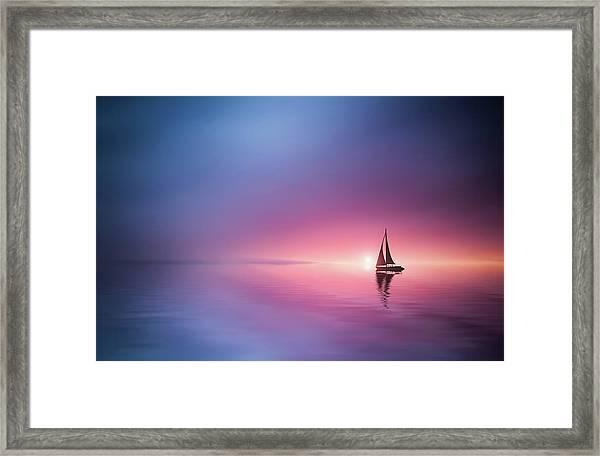 Sailing Across The Lake Toward The Sunset Framed Print
