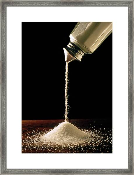 Salt Pouring From Salt Container Framed Print