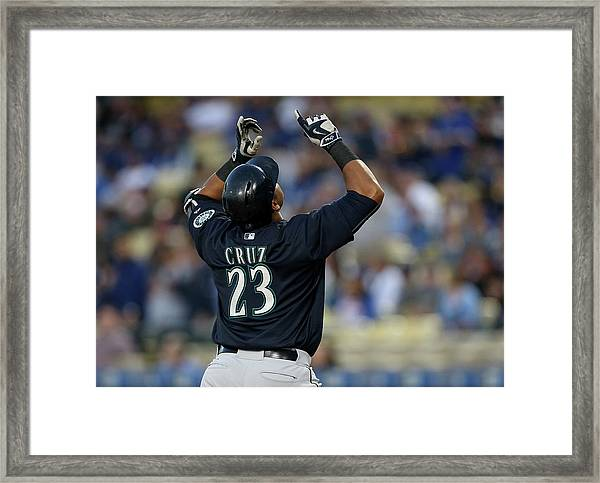 Seattle Mariners V Los Angeles Dodgers Framed Print by Stephen Dunn