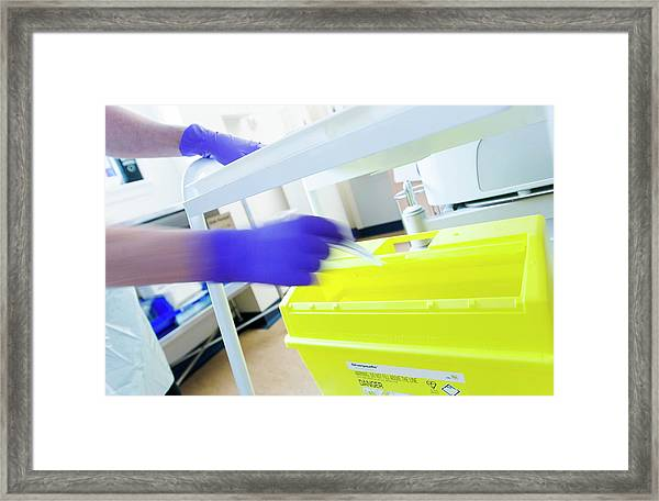 Sharps Bin Framed Print by Gustoimages/science Photo Library