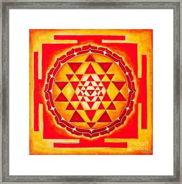 Framed Print featuring the photograph Sri Yantra For Meditation Painted by Raimond Klavins