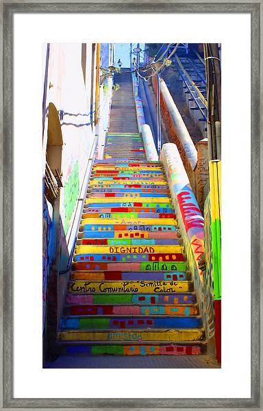 Stairway To Heaven Valparaiso  Chile Framed Print