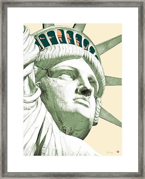 Statue Liberty - Pop Stylised Art Poster Framed Print
