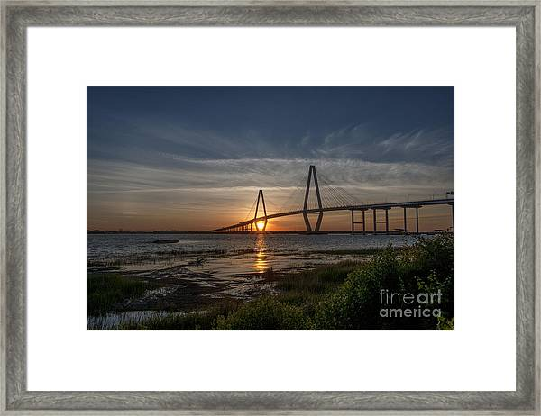 Sunset Over The Bridge Framed Print