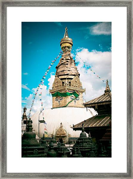 Framed Print featuring the photograph Swayambhunath Stupa In Nepal by Raimond Klavins