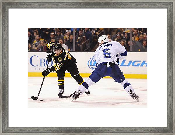 Tampa Bay Lightning V Boston Bruins Framed Print by Maddie Meyer