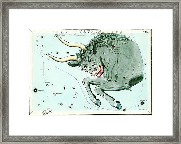 Taurus Constellation Framed Print by Royal Astronomical Society/science Photo Library