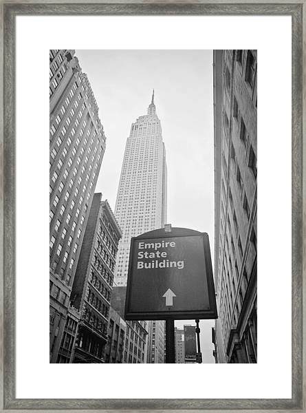 The Empire State Building In New York City Framed Print