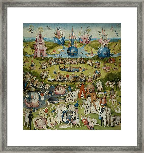 Framed Print featuring the painting The Garden Of Earthly Delights by Hieronymus Bosch