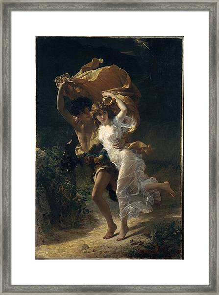 Framed Print featuring the painting The Storm by Pierre Auguste Cot