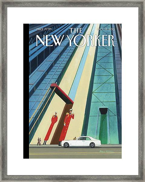 New Yorker October 12th, 2015 Framed Print by Bruce McCall