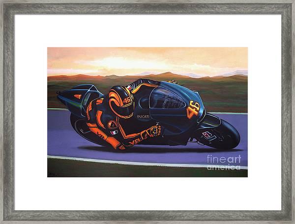 Valentino Rossi On Ducati Framed Print