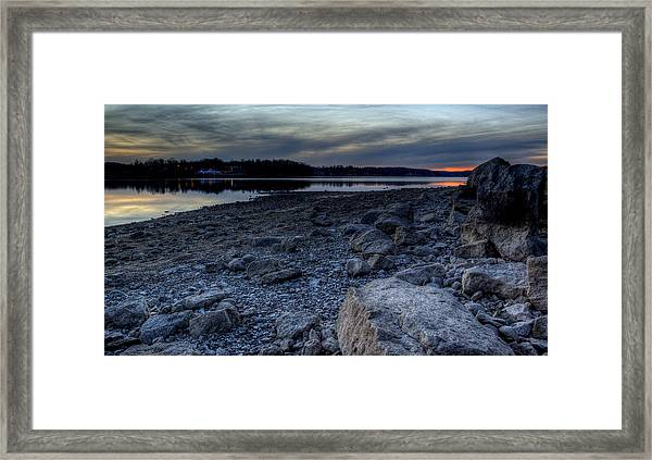 Winter Sunset On The Lake Framed Print