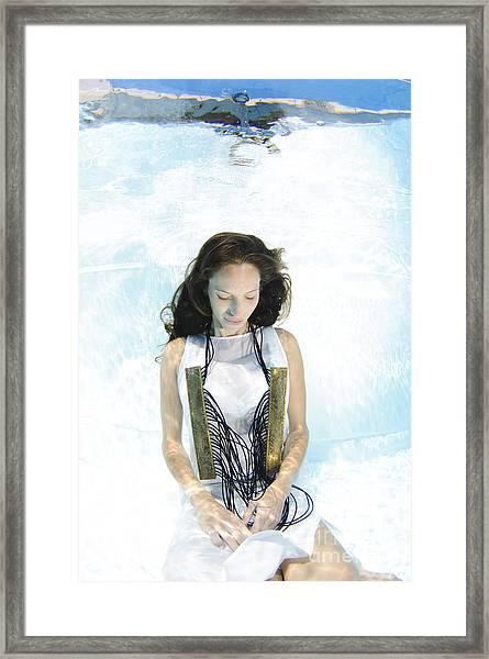 Woman Floats Underwater  Framed Print