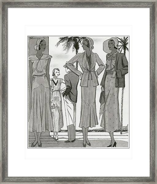 Women Wearing Designer Dresses Framed Print by Pierre Mourgue
