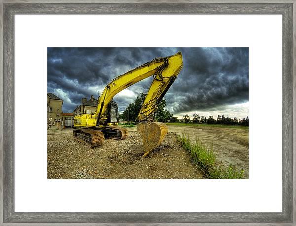 Yellow Excavator Framed Print