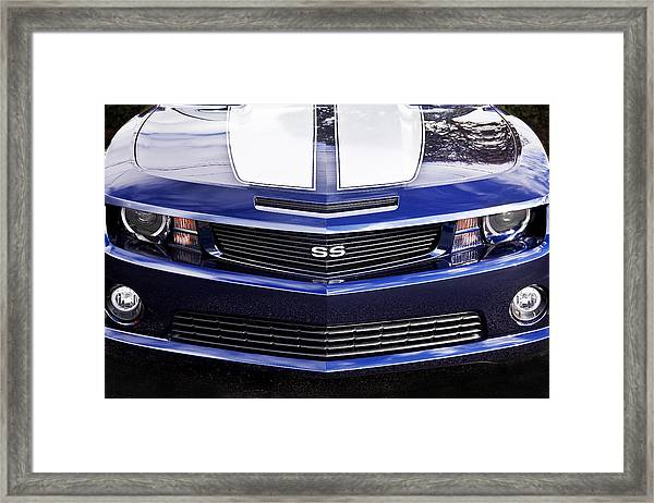 2012 Camaro Blue And White Ss Camaro Framed Print
