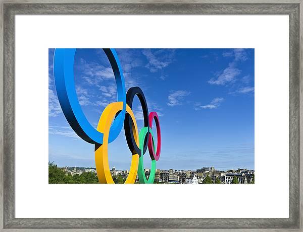 2012 Olympic Rings Over Edinburgh Framed Print
