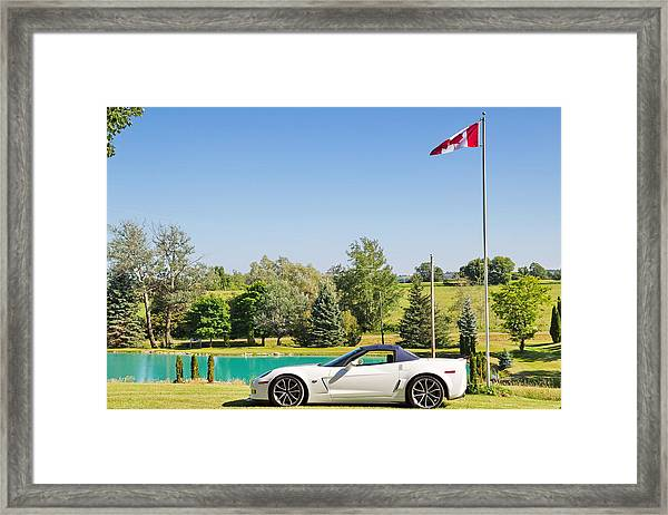 2013 Corvette 427 Sixtieth Anniversary Special By Canadian Flag Framed Print