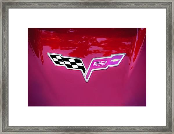 2013 Corvette 60th Anniversary Hood Logo Painted Framed Print