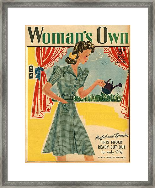 1940s Uk Womans Own Magazine Cover Framed Print