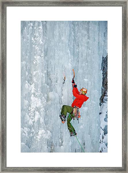 Ice Climbing Framed Print by Elijah Weber