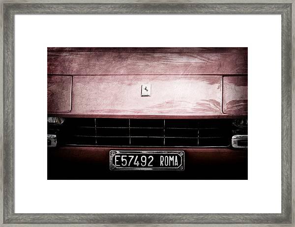 1972 Ferrari 365 Gtb-4a Grille Emblem Framed Print
