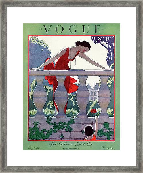A Vintage Vogue Magazine Cover Of A Woman Framed Print by Andre E  Marty
